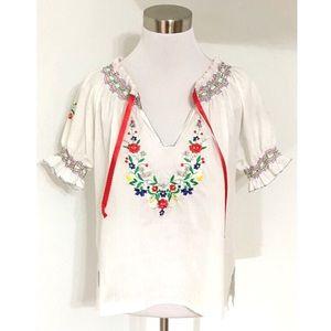 Vintage Floral Embroidered Peasant Top